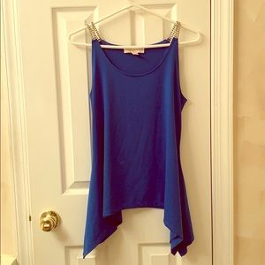 Michael Kors blue chain strapped flowy tank top